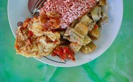 Traditionelle Javanese Nahrung, die roten Reis mit Aubergine und Ei dishe enthält lizenzfreie stockfotos