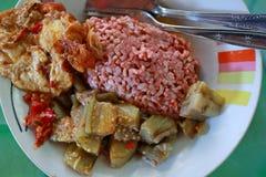 Traditionelle Javanese Nahrung, die roten Reis mit Aubergine und Ei dishe enthält lizenzfreie stockfotografie