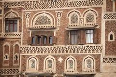 Traditionelle jemenitische Gebäude stockfotos