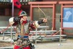 Traditionelle Kampfkunst-Probeleistung am 23. Dezember 2016 Gyeonggi-tun, Suwon-Si, Südkorea Lizenzfreies Stockbild