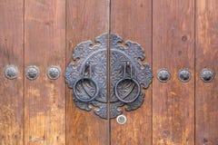 Traditionelle koreanische alte Holztür Stockbild