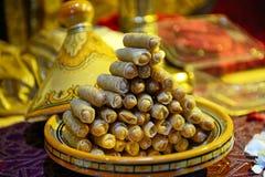 Traditionelle Kultur der arabischen Nachtischbonbons lizenzfreies stockbild