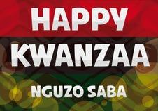 Traditionelle Kwanzaa-Flagge mit glühenden Blasen, Vektor-Illustration Stockbilder