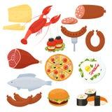 Traditionelle Lebensmittelikonen für ein Menü Stockbild
