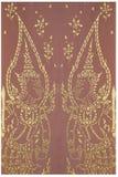 Traditionelle Malerei muster-Designhintergrundes der aufwändigen thailändischen Motivpaarengel der Kunst goldenen des Blumen, Gra Lizenzfreie Stockbilder