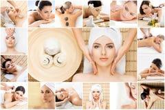 Traditionelle Massage- und Gesundheitswesenbehandlung im Badekurort Junge, schöne und gesunde Mädchen, die Therapie haben collage Lizenzfreies Stockbild
