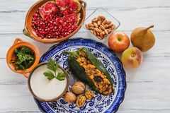 Traditionelle mexikanische Küche Bestandteile Paprikaen Nogada in Puebla Mexiko Lizenzfreies Stockbild