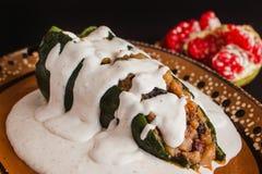 Traditionelle mexikanische Küche Paprikaen Nogada in Puebla Mexiko Lizenzfreie Stockfotografie