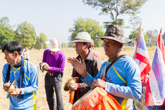 Traditionelle Musikerband Thailands, die Volksmusik spielt Stockbild