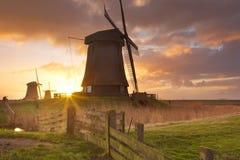 Traditionelle niederländische Windmühlen bei Sonnenaufgang stockfotografie