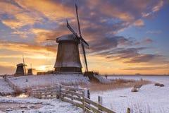 Traditionelle niederländische Windmühlen im Winter bei Sonnenaufgang stockfoto