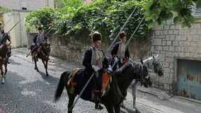 Traditionelle Parade von Alka-Spiel in Sinj stock video footage