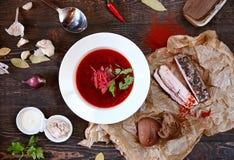 Traditionelle russische und ukrainische Borschtsuppe Lizenzfreies Stockfoto