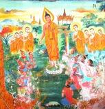Traditionelle siamesische Kunst auf einer Wand im Tempel Lizenzfreie Stockfotos