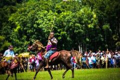 Traditionelle Spiele Pasola, Sumba-Insel lizenzfreie stockfotografie