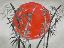 Traditionelle sumi-e Japans Malerei Aquarell- und Tintenillustration in Art sumi-e, Usünde Fuji-Berg, Kirschblüte, Sonnenuntergan stockfotografie