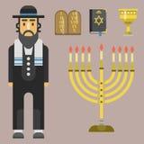 Traditionelle Symbole der Judentumskirche lokalisierten des religiösen Charakter-Judevektor Synagogepassahfests Chanukkas hebräis vektor abbildung