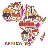 Traditionelle Symbole von Afrika in Form einer Karte vektor abbildung
