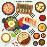 Traditionelle Teller und Mahlzeiten der koreanischen Küche reisen nach Korea lizenzfreie abbildung