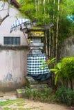 Traditionelle Tempel-Verzerrung mit Schwarzweiss-Kontrolleur-Muster-Gewebe und unter Regenschirm-und Bambusbaum stockfotos