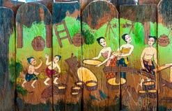 Traditionelle thailändische Artkunstgeschichten der Religion Stockbild