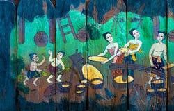Traditionelle thailändische Artkunstgeschichten der Religion Stockfotografie