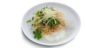 Traditionelle thailändische Breireismehlsuppe in der Schüssel, Congee Lizenzfreies Stockfoto