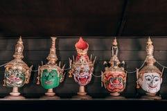 Traditionelle thailändische ` Khon-` Maskenpantomime von Ramayana-Epose lizenzfreie stockfotografie