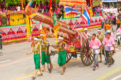 Traditionelle thailändische Kunst auf alter Rakete in den Paraden 'Boon Bang Fai Stockfotos