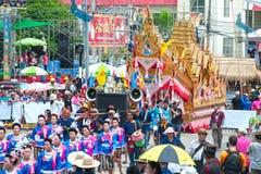 Traditionelle thailändische Kunst auf Rakete in den Paraden 'darstellender Boon Bang Fai ' Lizenzfreie Stockfotos