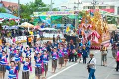 Traditionelle thailändische Kunst auf Rakete in den Paraden 'darstellender Boon Bang Fai ' Lizenzfreie Stockbilder