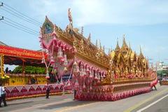 Traditionelle thailändische Kunst auf Rakete in den Paraden 'darstellender Boon Bang Fai ' Stockbilder