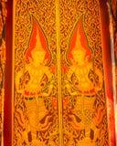 Traditionelle thailändische Kunst der Malerei auf Holz Lizenzfreies Stockfoto