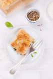 Traditionelle Torte mit Lachsen, Spinat und Basilikum Stockfotografie