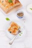 Traditionelle Torte mit Lachsen, Spinat und Basilikum Stockfoto