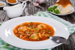 Traditionelle ukrainische oder russische Gemüsesuppe, Borscht kochte in der Fleischsuppe mit Frühkartoffeln im weißen breiten Kan lizenzfreies stockfoto