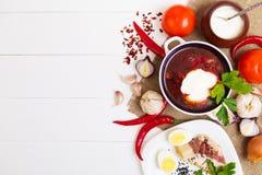 Traditionelle ukrainische Suppe - Borscht Stockfoto