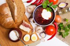 Traditionelle ukrainische Suppe - Borscht Stockfotos