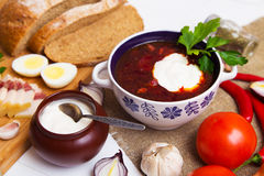 Traditionelle ukrainische Suppe - Borscht Stockfotografie