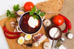 Traditionelle ukrainische Suppe - Borscht Stockbild