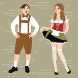 Traditionelle Völker Kostüme durch niederländisches bayerisches Mädchen des flachen Designs der Landbevölkerungs-Charakterillustr Stockfotografie
