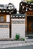 Traditionelle Wand, Seoul, Südkorea Lizenzfreies Stockfoto