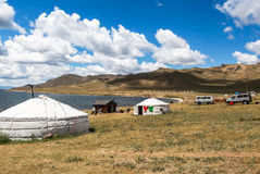 Traditionelle yurts in Mongolei Lizenzfreies Stockfoto