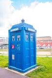 Traditioneller alter blauer Polizeikasten in Glasgow Scotland Lizenzfreies Stockfoto