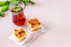 Traditioneller arabischer Nachtisch Basbousa oder Namoora Köstlicher selbst gemachter Grießkuchen Kopieren Sie Platz Selektiver F lizenzfreie stockfotos