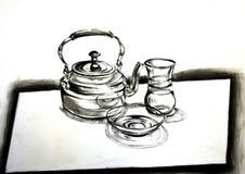 Traditioneller arabischer Teesatz, eine Kohlezeichnung stockbilder