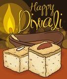 Traditioneller Barfi-Nachtisch und beleuchtetes Diya, zum von Diwali, Vektor-Illustration zu feiern Lizenzfreies Stockfoto