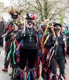 Traditioneller Blackface Morris Dancers, North Yorkshire lizenzfreie stockbilder