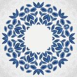 Traditioneller blauer runder Sonnenblumenmusterrahmen Stockfoto