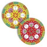 Traditioneller Chinese-Geschirr-Muster für Tabellen-Matte u. Küstenmotorschiff Stockbild